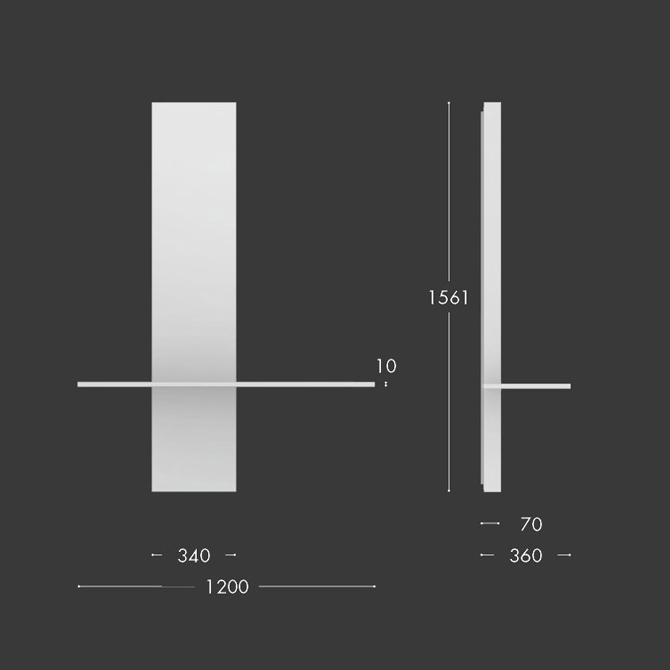 consolle peak vetro natevo misure