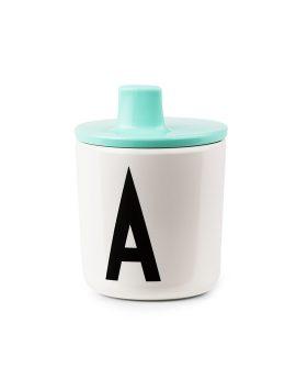 Design Letters Kids Lid turchese 20202300 - Tappo beccuccio azzurro per bicchiere in plastica Arne Jacobsen - Dtime shop