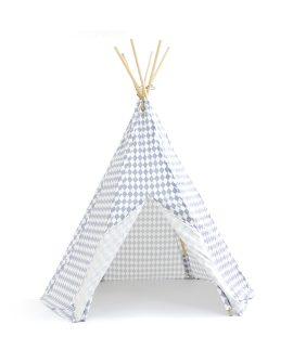 Tenda tipi Arizona fantasia rombi blue Nobodinoz Barcellona tenda gioco bambini h 155 cm giocattoli design creativi DTime