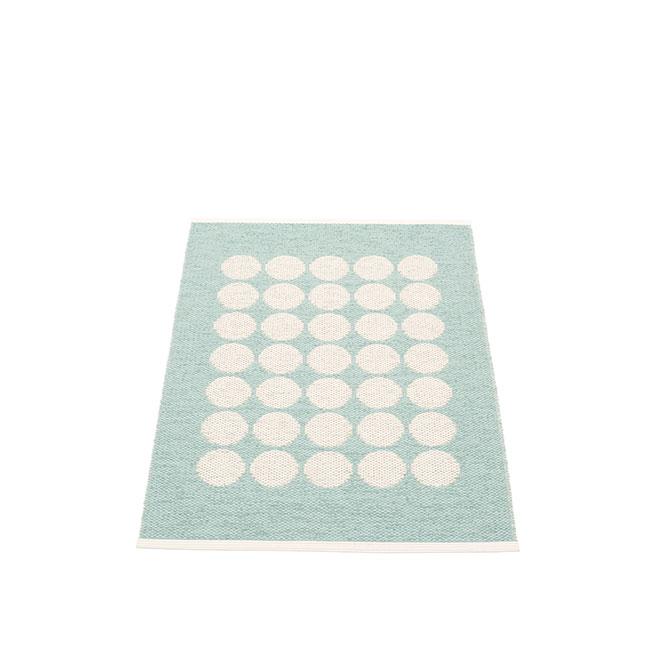 Pappelina Fia turchese FI1A710 tappeto cerchi azzurro-vaniglia cm 70x100 in plastica PVC_Online su Dtime