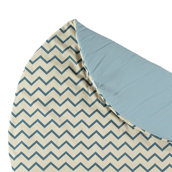 Tappeto tondo Apache small Nobodinoz Dtime colore zigzag blu