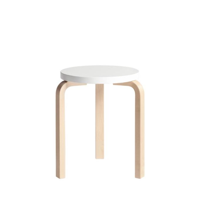 stool 60 sgabello a tre gambe verniciato bianco