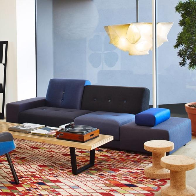 polder sofa divano colorato versione classica blu ambientata