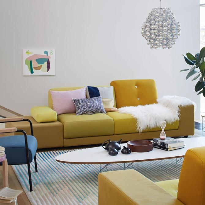 polder sofa divano colorato versione classica giallo ambientato