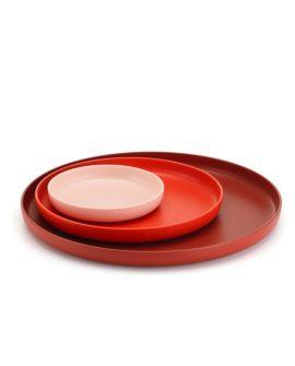 vassoi trays set da 3 prodotto rosso